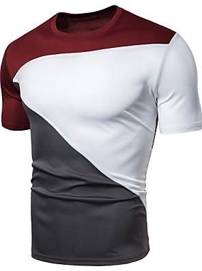 cheap Men's Shirts-Men's Sports T-shirt Color Block Solid Colored Patchwork Short Sleeve Tops Basic V Neck White Black Wine / Gym