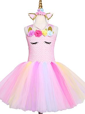 cheap Baby Girls'  Dresses-Handmade Pink Girls Tutu Dress Tulle Princess Kids New Year Costume Vestidos Gift