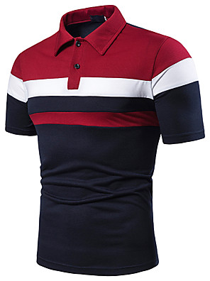 cheap Prom Dresses-Men's Patchwork Polo Shirt Collar Red / Light gray / Navy Blue
