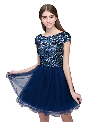 cheap Bridesmaid Dresses-A-Line Beautiful Back Sparkle Homecoming Cocktail Party Dress Jewel Neck Short Sleeve Short / Mini Tulle with Sequin 2020