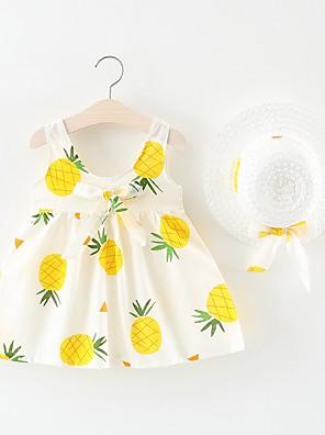 cheap Girls' Dresses-Baby Girls' Active / Basic Fruit Bow / Pleated Sleeveless Above Knee Cotton Dress White / Toddler