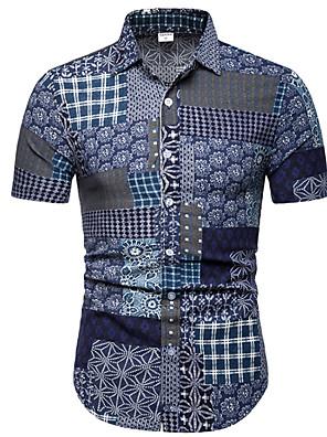 cheap Shirts-Men's Shirt Plaid Tribal Short Sleeve Tops Navy Blue