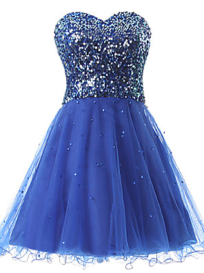 cheap Special Occasion Dresses-A-Line Sparkle Blue Homecoming Cocktail Party Dress Sweetheart Neckline Sleeveless Short / Mini Tulle Sequined with Sequin 2020