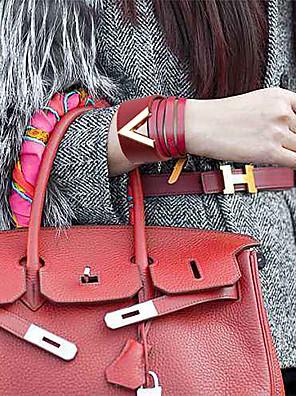 cheap Quartz Watches-Women's Bracelet Bangles Vintage Bracelet Leather Bracelet Classic Letter Simple Luxury Trendy Fashion Elegant Leather Bracelet Jewelry Brown / Blue / Dark Red For Wedding Party Gift Club Festival