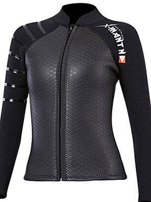 cheap Athletic Swimwear-Dive&Sail Women's Wetsuit Top 3mm SCR Neoprene Top Long Sleeve Front Zip - Diving Patchwork Autumn / Fall Spring Summer / Stretchy