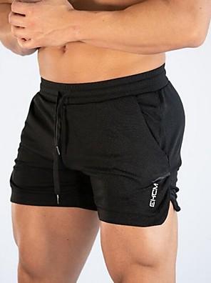 economico Tute e tutine da uomo-Per uomo Per sport Pantaloncini Pantaloni Tinta unita A cordoncino Nero Grigio M L XL