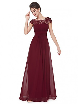 cheap Prom Dresses-A-Line Empire Red Wedding Guest Prom Dress Boat Neck Sleeveless Floor Length Chiffon Lace with Pleats Lace Insert 2020