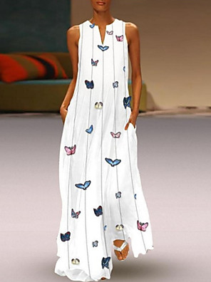 cheap Summer Dresses-Women's Maxi Butterfly Dress - Sleeveless Animal Print Summer V Neck Casual Holiday Vacation Beach 2020 White Yellow Blushing Pink Light Blue S M L XL XXL XXXL