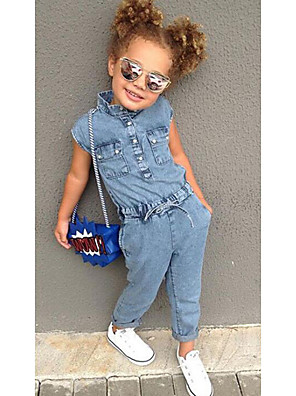 cheap Girls' Dresses-Kids Toddler Girls' Basic Vintage Solid Colored Overall & Jumpsuit Blue