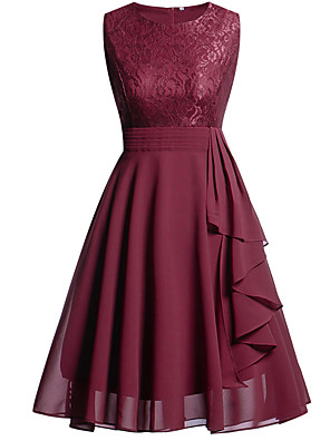 cheap Cocktail Dresses-Back To School A-Line Hot Red Holiday Homecoming Dress Jewel Neck Sleeveless Knee Length Chiffon Lace with Draping Lace Insert 2020 Hoco Dress