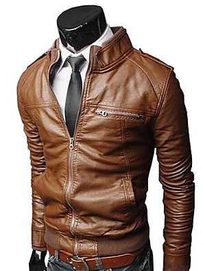 cheap Men's Jackets & Coats-Men's Daily / Going out / Work Vintage / Basic Spring &  Fall Regular Leather Jacket, Solid Colored Stand Long Sleeve PU Brown / Black / Light Brown
