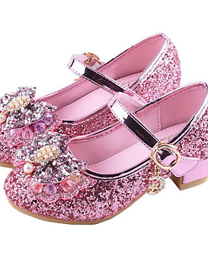 cheap Girls' Dresses-Girls' Comfort / Flower Girl Shoes Synthetics Heels Toddler(9m-4ys) / Little Kids(4-7ys) / Big Kids(7years +) Sequin / Buckle Silver / Red / Pink Spring / Summer / Party & Evening / Rubber