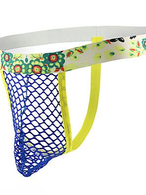 cheap Men's Exotic Underwear-Men's Mesh G-string Underwear - Asian Size 1 Piece Low Waist Black White Yellow M L XL