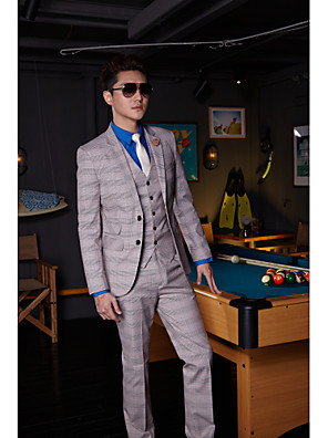 cheap Prom Dresses-Ash Striped Standard Fit Cotton / Polyester Suit - Notch Single Breasted Two-buttons / Suits