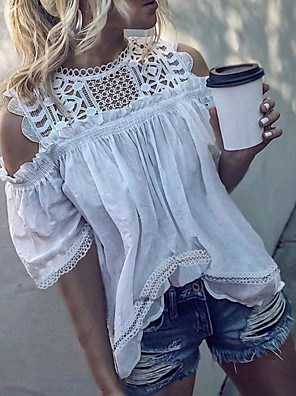 cheap Women's Blouses & Shirts-Women's T-shirt Solid Colored Lace Ruffle Tops White Orange Brown