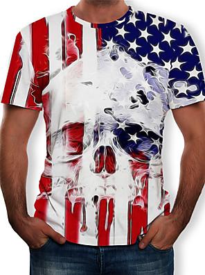 cheap Men's Tees-Men's Tee T shirt Shirt 3D Print Graphic 3D Skull American Flag Print Short Sleeve Causal Tops Designer Big and Tall White