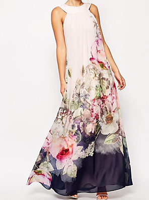 cheap Maxi Dresses-Women's Maxi Swing Dress - Sleeveless Floral Flower Patchwork Print Spring & Summer Crew Neck Casual Holiday Vacation Loose 2020 White S M L XL XXL