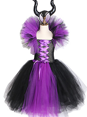 cheap Baby Girls'  Dresses-Maleficent Evil Queen Girls Tutu Dress with Horns Halloween Cosplay Witch Costume
