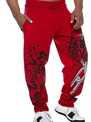 baratos Calças e Shorts Masculinos-Homens Activo Calças Esportivas Calças Sólido Com Cordão Preto Vermelho M L XL
