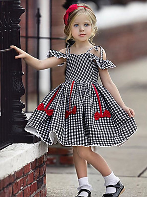 cheap Girls' Dresses-Kids Girls' Active Cute Houndstooth Jacquard Backless Bow Pleated Short Sleeve Knee-length Dress Black / Cotton / Lace up