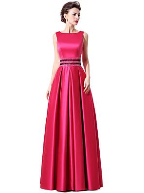 cheap Bridesmaid Dresses-A-Line Elegant Minimalist Engagement Formal Evening Dress Boat Neck Sleeveless Floor Length Satin with Sash / Ribbon Sequin 2020