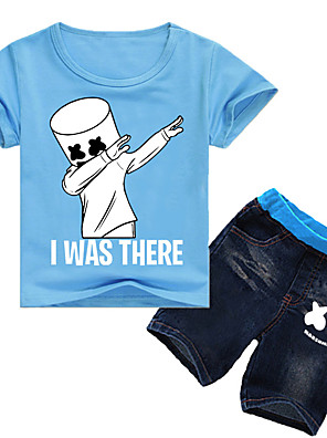 cheap Boys' Clothing Sets-Kids Boys' Active Cartoon Short Sleeve Clothing Set Black