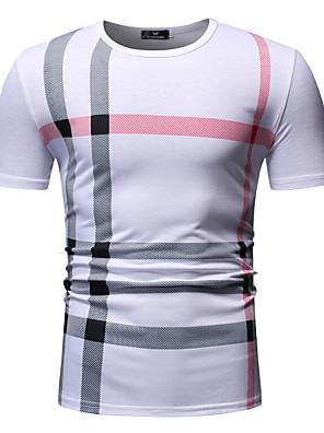 cheap Men's Shirts-Men's Striped Plaid Print T-shirt Round Neck White / Black / Navy Blue