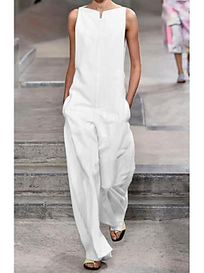 cheap Special Occasion Dresses-Women's Streetwear White Black Jumpsuit Solid Colored / Wide Leg