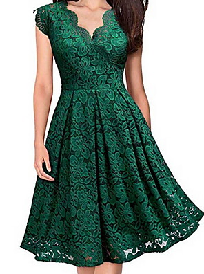 cheap Romantic Lace Dresses-Women's Skater Dress - Short Sleeve Floral Spring & Summer V Neck Lace Party Party & Evening Slim 2020 Black Purple Red Green S M L XL
