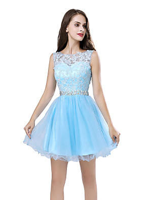 cheap Cocktail Dresses-A-Line Beautiful Back Floral Homecoming Cocktail Party Dress Illusion Neck Sleeveless Short / Mini Tulle with Sash / Ribbon Beading Appliques 2020