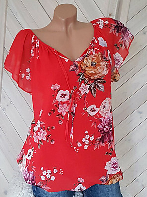 cheap Romantic Lace Dresses-Women's Weekend Street chic Plus Size Loose Blouse - Floral V Neck Red XXXL