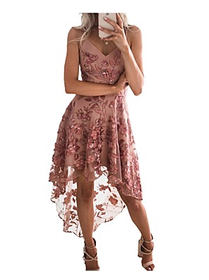cheap Print Dresses-Women's Strap Dress Dusty Rose Knee Length Dress - Sleeveless Solid Colored Lace Summer Spring & Summer Sexy Party Lace Belt Not Included 2020 Blushing Pink S M L XL