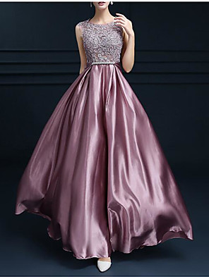 cheap Evening Dresses-A-Line Empire Pink Engagement Formal Evening Dress Jewel Neck Sleeveless Floor Length Satin with Bow(s) Appliques 2020