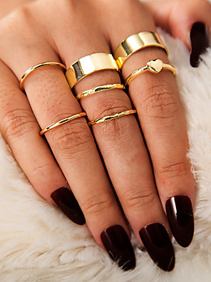 cheap Quartz Watches-Women's Ring Ring Set Midi Rings 7pcs Gold Alloy Simple European Trendy Daily Carnival Jewelry Classic Heart Cool