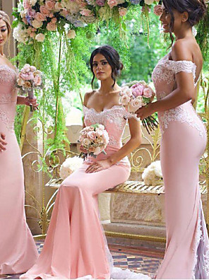 cheap Evening Dresses-Mermaid / Trumpet Off Shoulder Court Train Jersey Bridesmaid Dress with Appliques / Buttons / Open Back