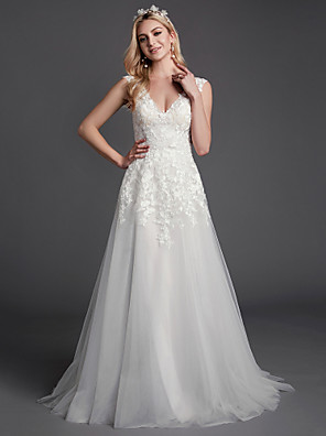 cheap Prom Dresses-A-Line Wedding Dresses V Neck Sweep / Brush Train Lace Tulle Sleeveless Romantic See-Through Backless with Lace 2020