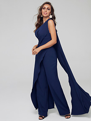 cheap Evening Dresses-Pantsuit / Jumpsuit Mother of the Bride Dress Sexy Plus Size One Shoulder Sweep / Brush Train Spandex Sleeveless with Pleats 2020
