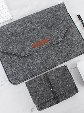 cheap Mac Accessories-Natural Wool Felt Laptop Case Protector Bag Plus Power Pack Compatible 11-15 Inch MacBook Pro MacBook Air Laptop Gray Black