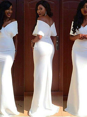 cheap Evening Dresses-Mermaid / Trumpet Elegant White Wedding Guest Formal Evening Dress Off Shoulder Short Sleeve Sweep / Brush Train Chiffon with Ruched 2020