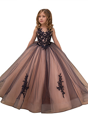 cheap Flower Girl Dresses-Ball Gown Maxi Birthday / Pageant Flower Girl Dresses - Tulle / Satin Chiffon Sleeveless V Neck with Lace / Embroidery / Appliques