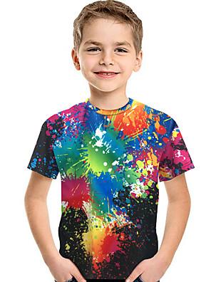 cheap Boys' Tops-Kids Toddler Boys' Active Basic Print 3D Rainbow Print Short Sleeve Tee Rainbow