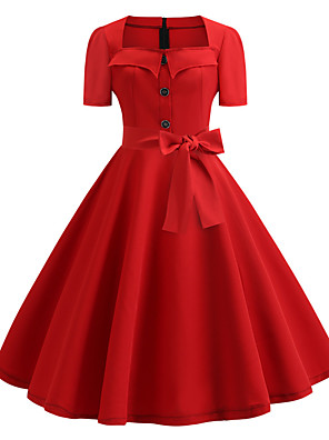 cheap Women's Dresses-Audrey Hepburn Polka Dots Retro Vintage 1950s Dress Party Costume Women's Costume Red / White / Black / Red Vintage Cosplay Party / Evening Homecoming Short Sleeve