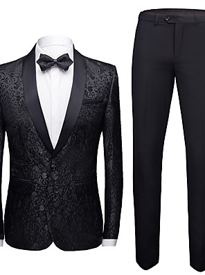 cheap Custom Tuxedo-Tuxedos Standard Fit Shawl Collar Single Breasted One-button Polyester Flocking