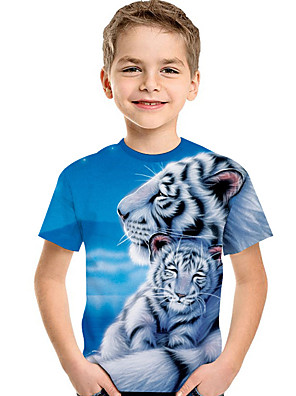 cheap Boys' Tops-Kids Toddler Boys' Active Basic Tiger Print 3D Animal Print Short Sleeve Tee Light Blue