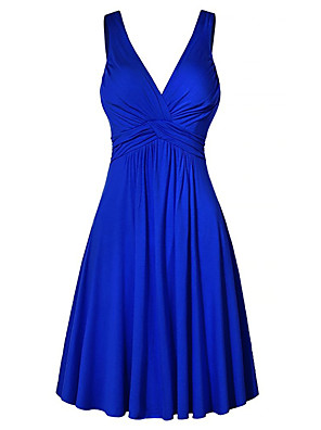 cheap Party Dresses-Women's Plus Size Mini Shift Dress - Sleeveless Solid Colored Summer V Neck Basic High Waist Wine Black Yellow Fuchsia Royal Blue S M L XL XXL XXXL XXXXL XXXXXL