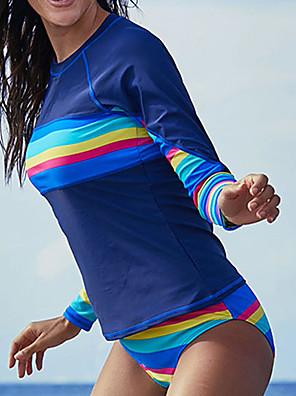 cheap Athletic Swimwear-Delamon Women's Rashguard Swimsuit Elastane Swimwear Quick Dry Long Sleeve 2-Piece - Swimming Surfing Painting Autumn / Fall Spring Summer / Stretchy