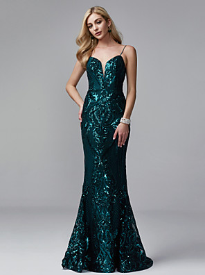 cheap Evening Dresses-Mermaid / Trumpet Sparkle & Shine Beaded & Sequin Formal Evening Black Tie Gala Dress Spaghetti Strap Sleeveless Sweep / Brush Train Sequined with Sequin 2020