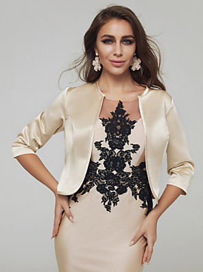 cheap Wedding Wraps-3/4 Length Sleeve Shrugs Satin Wedding / Party / Evening Women's Wrap With Solid