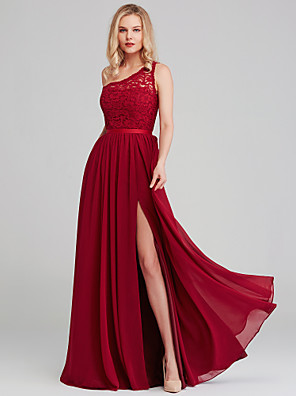 cheap Wedding Dresses-A-Line One Shoulder Long Length Chiffon / Lace Bridesmaid Dress with Sash / Ribbon