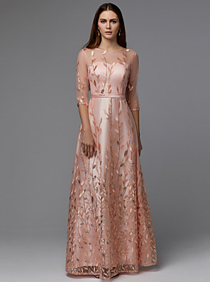 cheap Evening Dresses-A-Line Floral Pink Wedding Guest Prom Dress Illusion Neck 3/4 Length Sleeve Floor Length Lace Tulle with Pattern / Print Appliques 2020